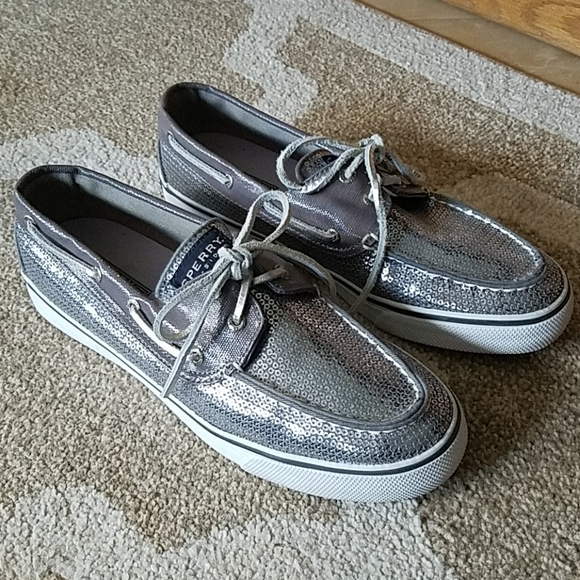 EUC!  Sperry Top Siders silver sequin